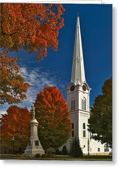Charles Kozierok Greeting Cards - First Congregational Church of Manchester Greeting Card by Charles Kozierok
