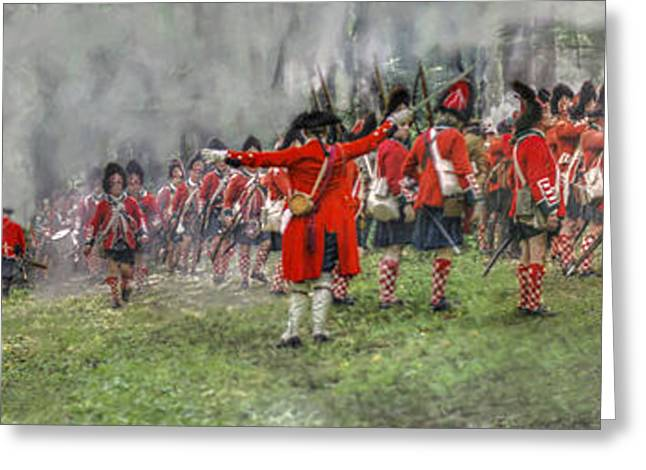 Royal Art Greeting Cards - First Contact Battle Panoramic Print  Greeting Card by Randy Steele