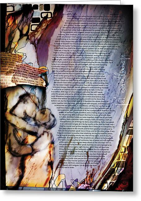 Testament Greeting Cards - First Corinthians 14 Greeting Card by Switchvues Design