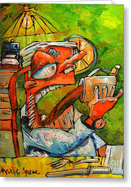 Coffee Drinking Paintings Greeting Cards - First Cup Down No2 from series That Coffee Thing Greeting Card by Charlie Spear