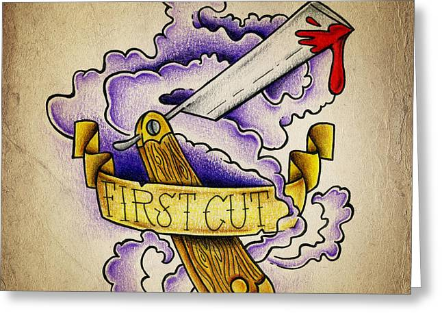 New School Greeting Cards - First Cut Greeting Card by Samuel Whitton