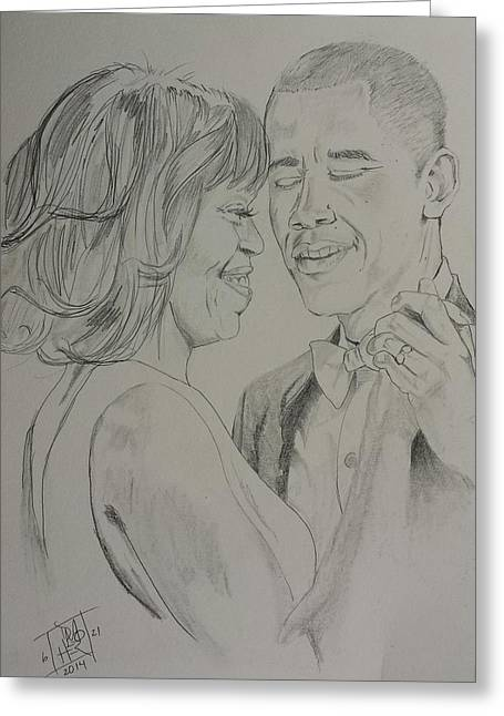 Michelle Obama Drawings Greeting Cards - First Dance Greeting Card by DMo Herr