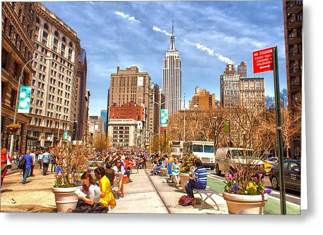 5th Avenue Place Greeting Cards - First Day of Spring Greeting Card by Jeff Stein