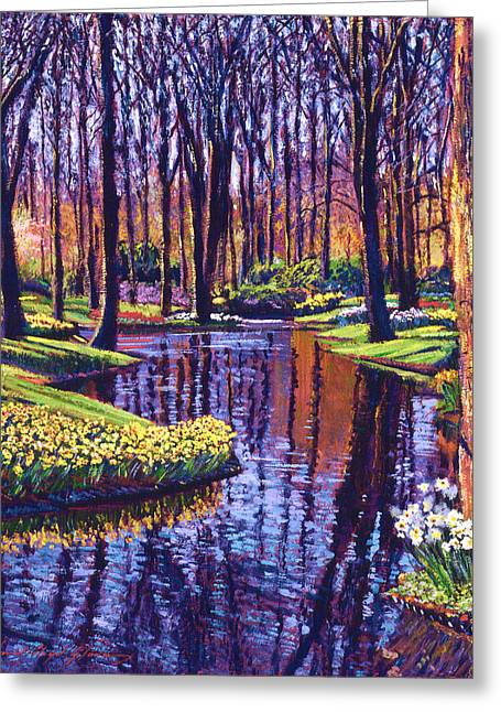Flower Bed Greeting Cards - First Days of Spring Greeting Card by David Lloyd Glover