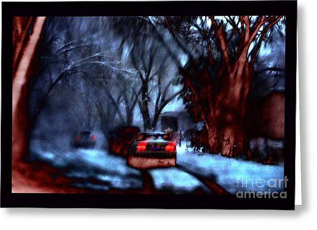 Snowy Roads Digital Art Greeting Cards - First December Snow Greeting Card by Susanne Still