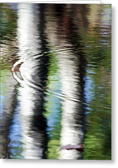 Green Foliage Greeting Cards - First Drop Water Reflection Greeting Card by Christina Rollo