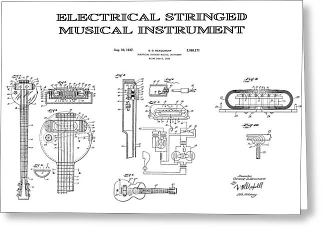 Historical Blueprint Greeting Cards - First Electric Guitar Patent Art  1937 Greeting Card by Daniel Hagerman