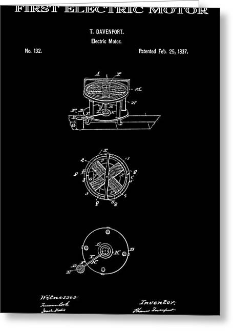 Edison Greeting Cards - First Electric Motor 2 Patent Art 1837 Greeting Card by Daniel Hagerman