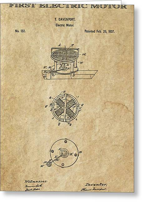 Power Generator Greeting Cards - First Electric Motor 3 Patent Art 1837 Greeting Card by Daniel Hagerman