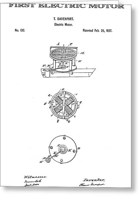 Greatest Generation Greeting Cards - First Electric Motor Patent Art 1837 Greeting Card by Daniel Hagerman