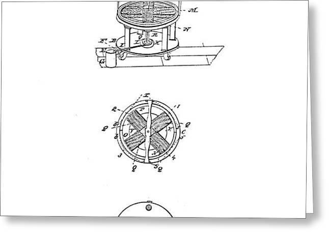 FIRST ELECTRIC MOTOR PATENT ART 1837 Greeting Card by Daniel Hagerman