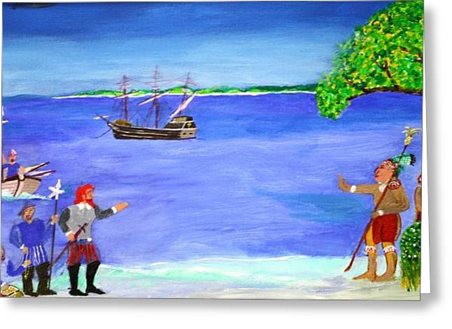 Galleons Drawings Greeting Cards - First Encounter Greeting Card by Bill Hubbard