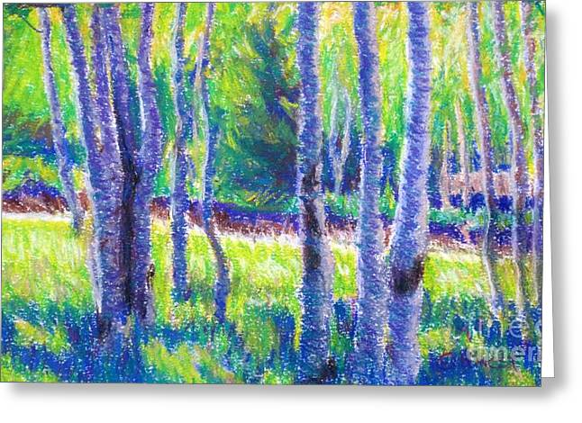 Landscape Framed Prints Pastels Greeting Cards - First Evening Greeting Card by Katrina West
