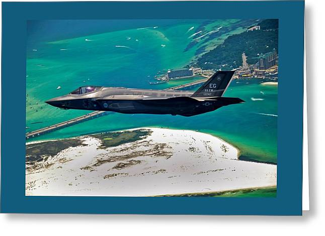 Barrel Roll Greeting Cards - First F 35 Strike Fighter Headed for Service in USAF Greeting Card by L Brown