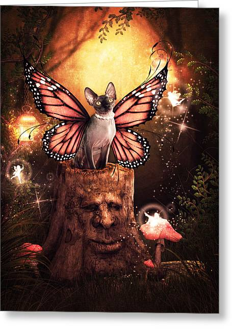 Sphynx Cat Greeting Cards - First Faery Kitty Greeting Card by Brittney Gobble
