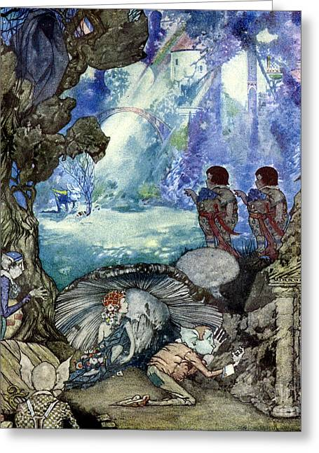 Neverland Greeting Cards - First Fairy Seen Whistling a Hole in the Ground. From Little Prince Toofat. 1922 Greeting Card by Robert Lawson