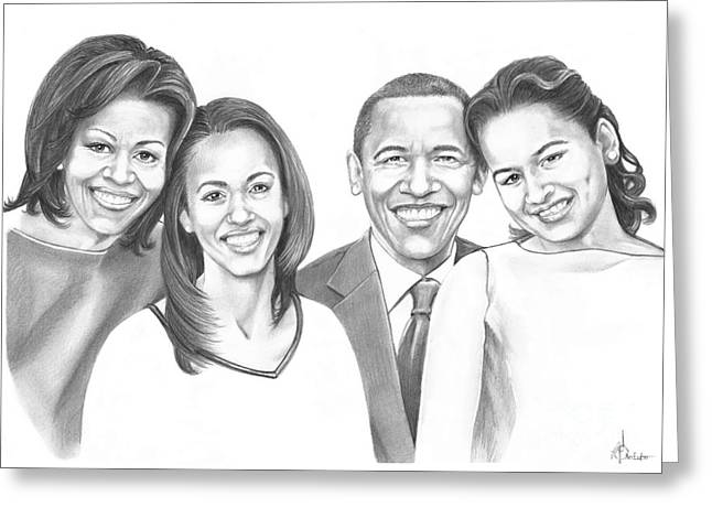 Michelle Obama Drawings Greeting Cards - First-Family 2013 Greeting Card by Murphy Elliott