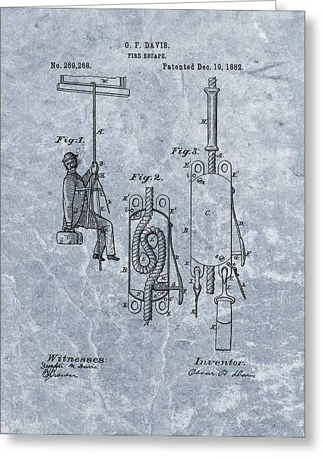 Cigar Drawings Greeting Cards - First Fire Escape Patent Greeting Card by Dan Sproul