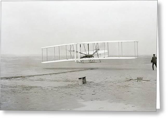 Biplane Greeting Cards - First Flight Captured On Glass Negative - 1903 Greeting Card by Daniel Hagerman