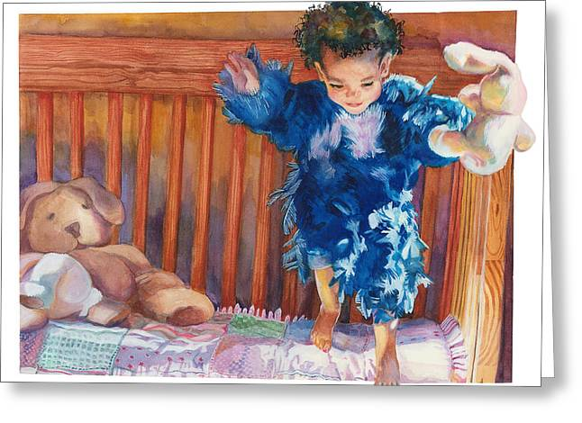 Child With Teddy Bear Greeting Cards - First Flight Greeting Card by Maureen Dean