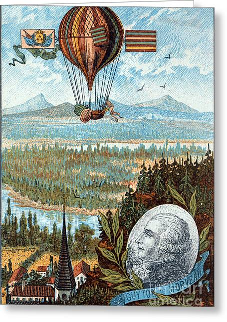 Dijon Greeting Cards - First Flight With Dirigible Balloon Greeting Card by Science Source