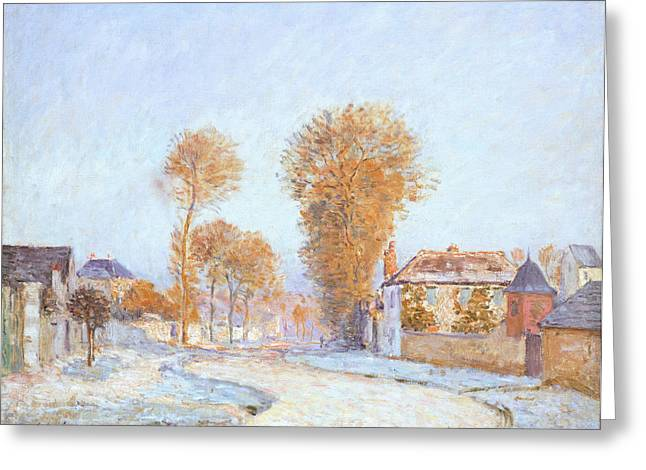 Winter Roads Greeting Cards - First Frost Greeting Card by Alfred Sisley