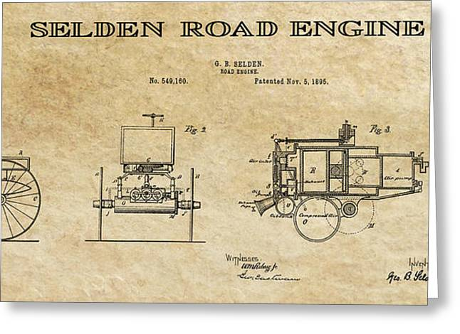 Historical Blueprint Greeting Cards - First Gas Automobile Patent Art Aged 1895 Greeting Card by Daniel Hagerman