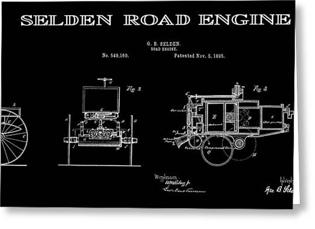 Historical Blueprint Greeting Cards - First Gas Automobile Patent Art Black 1895 Greeting Card by Daniel Hagerman