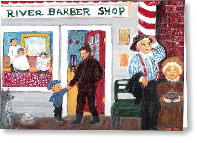Quartet Mixed Media Greeting Cards - First Haircut Greeting Card by Barbara LeMaster