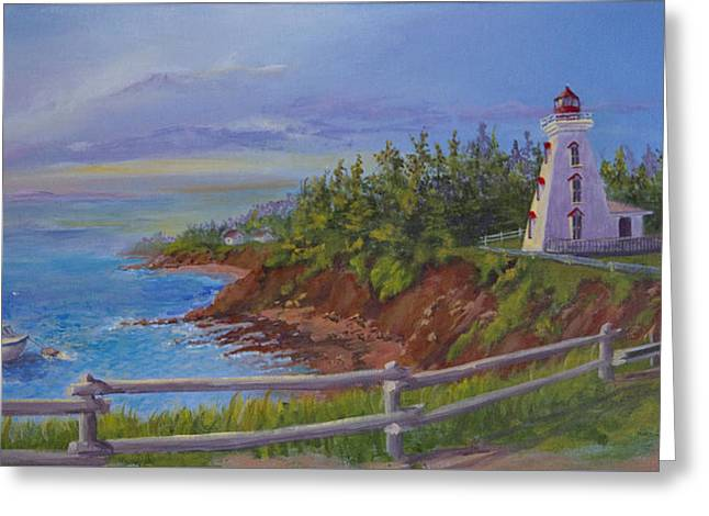 Bear Island Lighthouse Greeting Cards - First Haul Greeting Card by Lorraine Vatcher