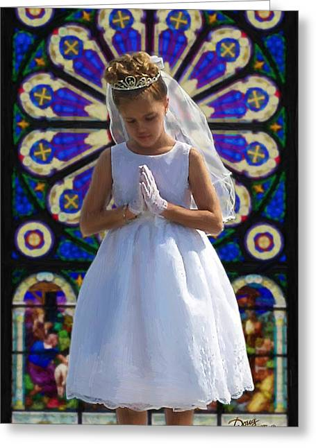 Reverence Digital Art Greeting Cards - First Holy Communion Greeting Card by Doug Kreuger