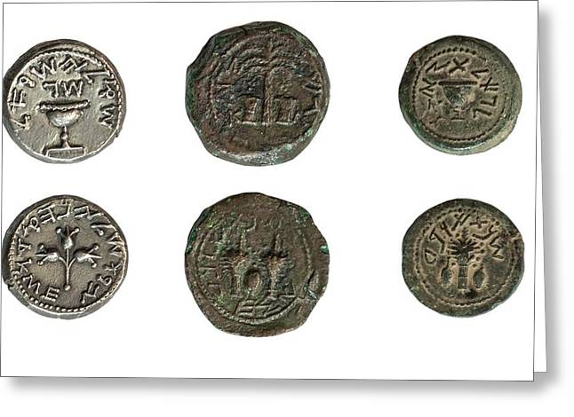 First Jewish Revolt Coins Greeting Card by Photostock-israel