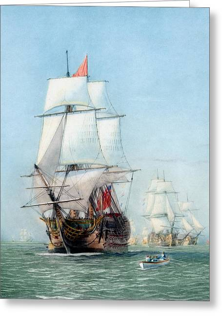 Clippers Mixed Media Greeting Cards - First Journey Of The HMS Victory Greeting Card by War Is Hell Store