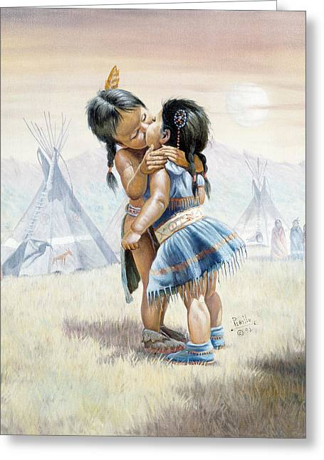 Baby Sister Greeting Cards - First Kiss Greeting Card by Gregory Perillo