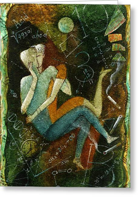 Man And Woman Greeting Cards - First Kiss Greeting Card by Leon Zernitsky