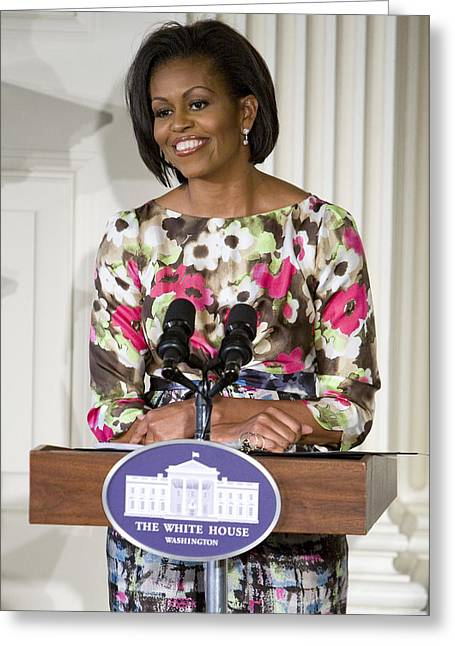 Michelle Obama Photographs Greeting Cards - First Lady Michelle Obama Greeting Card by JP Tripp