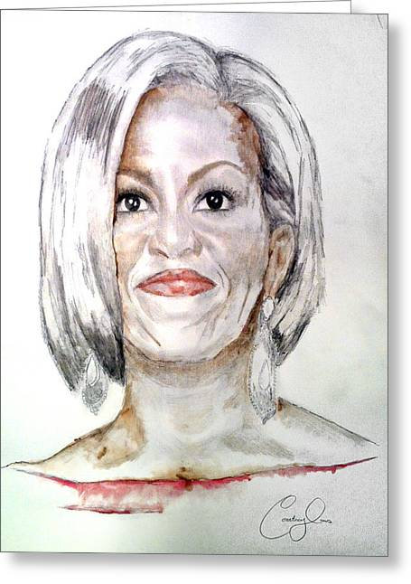 Michelle Obama Paintings Greeting Cards - First Lady O Greeting Card by Courtney James