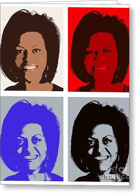 Michelle Obama Digital Greeting Cards - First Lady Greeting Card by Robert  Suggs