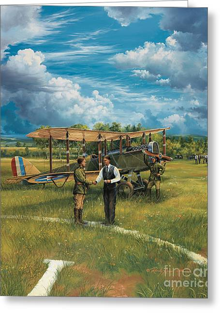 Biplane Greeting Cards - First Landing At Shepherds Field Greeting Card by Randy Green