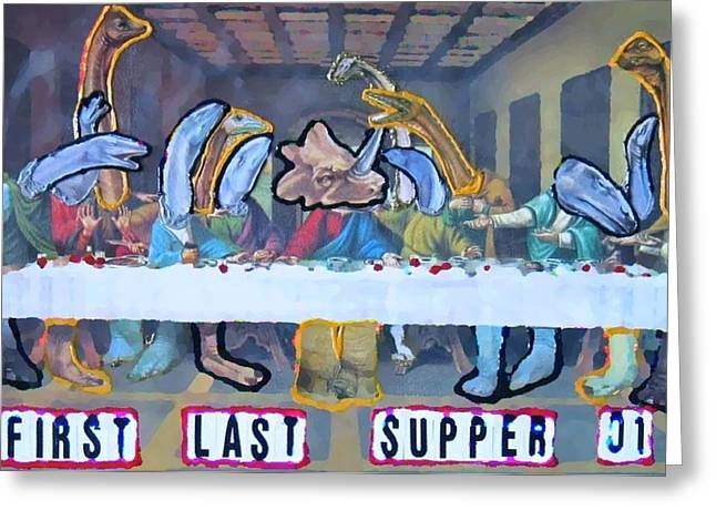 Byzantine Mixed Media Greeting Cards - First Last Supper Greeting Card by Lisa Piper Menkin Stegeman