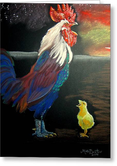 Rooster Pastels Greeting Cards - First Lesson Greeting Card by Mike Benton