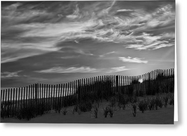 Sand Land And Sky Greeting Cards - First Light At Cape Cod Beach BW Greeting Card by Susan Candelario