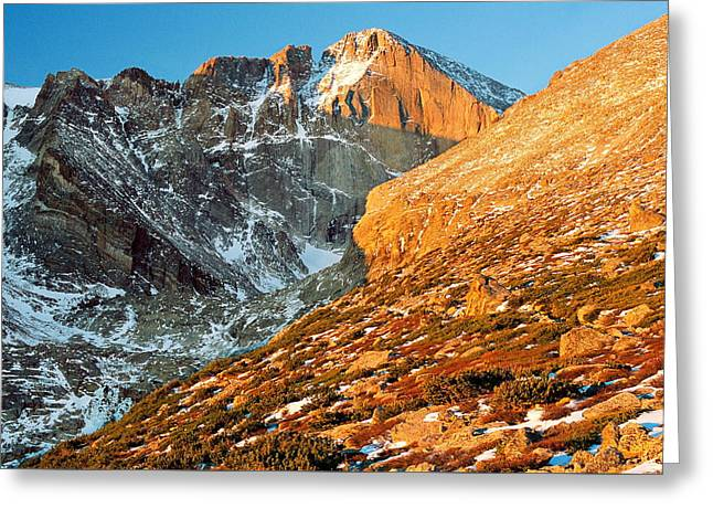 First Light At Longs Peak Greeting Card by Eric Glaser