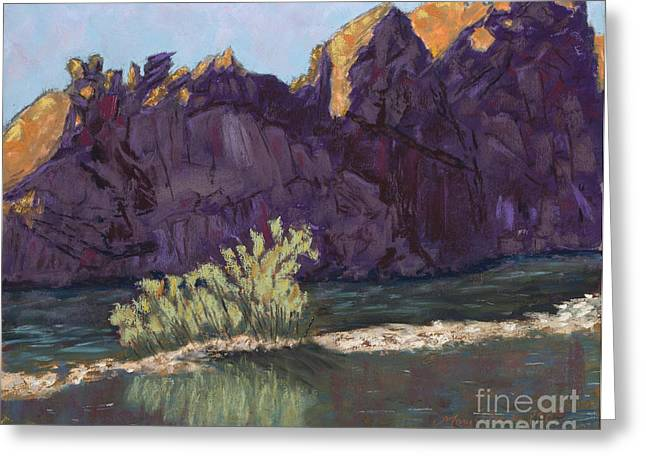 River View Pastels Greeting Cards - First Light at Picnic Rock Greeting Card by Mary Benke