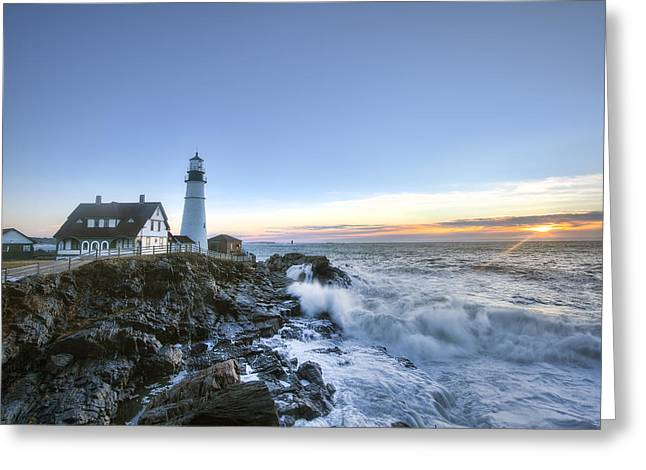 Old Inns Greeting Cards - First Light at Portland Head Greeting Card by Eric Gendron