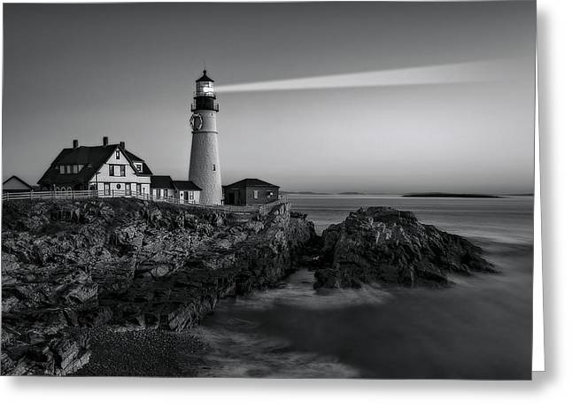 Maine Shore Greeting Cards - First Light At Portland Head Light BW Greeting Card by Susan Candelario