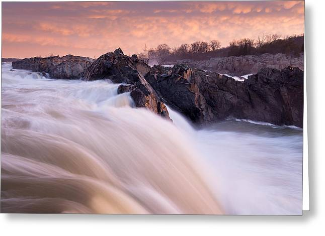 """great Falls"" Greeting Cards - First Light Great Falls Greeting Card by Mark VanDyke"