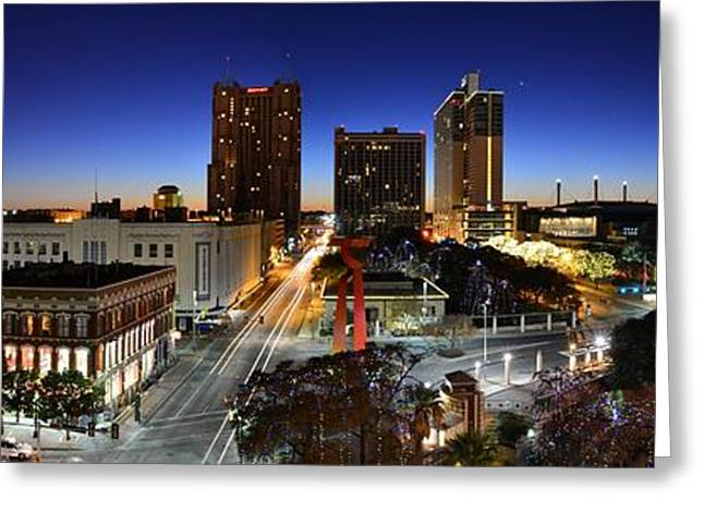 Hilton Greeting Cards - First Light on San Antonio Skyline - Texas Greeting Card by Silvio Ligutti