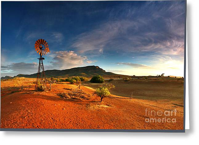 Windmills Greeting Cards - First Light on Wilpena Pound Greeting Card by Bill  Robinson