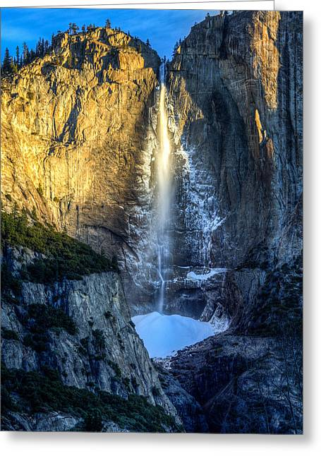 Mike Lee Greeting Cards - First Light on Yosemite Falls Greeting Card by Mike Lee
